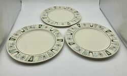 Taylorstone Cathay Atomic Starburst 10.5quot; Dinner Plate Lot Of 3 $19.99