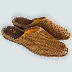 NOS Vtg 70s Sears Brown Corduroy Terry Lined House Slippers Slip On Mens Sz 10 $75.00