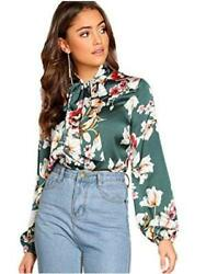 Romwe Women#x27;s Long Sleeve Floral Print Tie Neck Casual Blouse Green Size $9.99