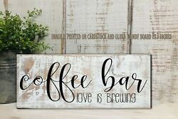 Coffee Bar farmhouse rustic country kitchen art sign decor 8x3x1 8quot; 1 $14.99