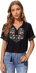 Romwe Women#x27;s Embroidery Tassel Tie V Neck Floral Short Black Size Small fONf $9.99
