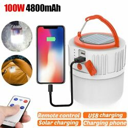 100W Solar LED Tent Lantern USB Rechargeable Emergency Light Camping Hiking Lamp $13.90