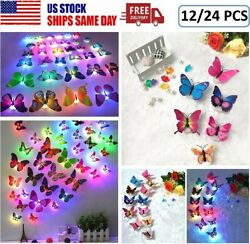 12 24x Glowing 3D Butterfly LED Wall StickerS Night Light Lamp DIY Room Decor US $9.47