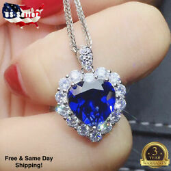 Fashion Heart 925 Silver Necklace Pendant for Women Blue Sapphire Jewelry $4.75
