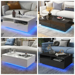 Modern High Gloss LED Coffee Table with Drawers End Table White Black Furniture $149.99
