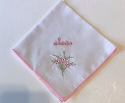 """VTG Personalized Embroidered Name Handkerchief Hankie """"Sister """" $4.99"""