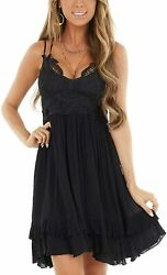 Feager Womens Summer V Neck Adjustable Spaghetti Strap Lace Dresses Sleeveless F $72.72