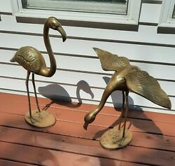 Flamingo pair Large over 2 ft. brass. Vintage Mid Century $450.00