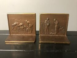 1920s Antique Office Judd Co Real Bronze Bookends Thanks for a Good Harvest 9977 $125.00