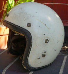 Vintage Century White Open Face Motorycle Helmet amp; Chinstrap Leather RARE $980.00