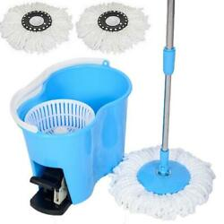 Microfiber Spin Mop Easy Floor with Bucket amp; 2 Mop Heads 360 Rotating Head Blue $32.99