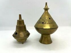Vintage Brass Incense Burners Lot of 2 Pedestal and Footed Tallest 4quot; $12.50