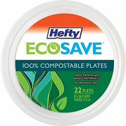 Hefty ECOSAVE Compostable Plates 8 3 4 Inch 22 Count $4.86