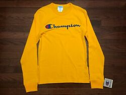 NEW CHAMPION L S T SHIRT MENS XS EXTRA SMALL YELLOW EMBROIDERED SPORTSWEAR NWT $24.99