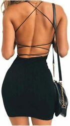 just quella Women Sexy Bodycon Party Dresses Backless Black Size X Small 6OFv $12.58