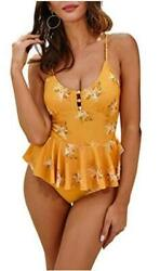 MOLYBELL One Piece Plunge Skirted Swimsuits for Women Floral Yellow Size $9.99