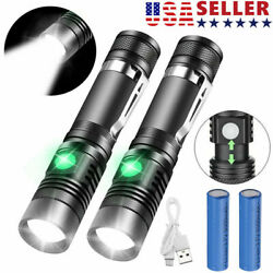 2 PACK 20000lm LED Flashlight Rechargeable USB T6 LED Tactical Torch Light Lamps $11.99