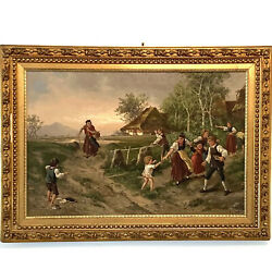 """Antique Oil on Canvas Continental Painting """"Unwelcome Visitor"""" Signed GK ca 1895 $2497.97"""