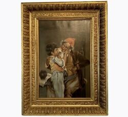 """Antique Oil Painting Gesso Framed On Canvas Boy with Elder Portrait 35""""H 26.75""""W $957.97"""