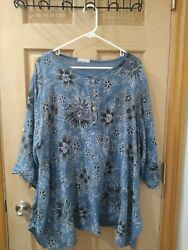 Women's Floral PLUS SIZE 2X Women's Tunic Shirt 3 4 Roll Tab Sleeve So Comfy $35.00