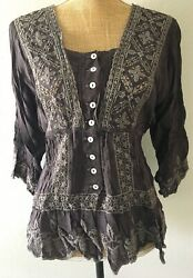 JOHNNY WAS Romantic Charcoal Embroidered Eyelet Lace Boho Peasant Top M Blouse $79.00
