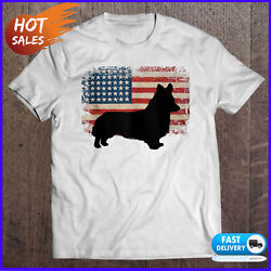Mens Corgi Dog With American Flag For 4Th Of July Dog Lover T Shirt Funny Gifts $19.99