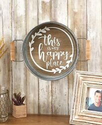 Sentiment Tray Wall Hanging Rustic Country Farmhouse Home This Is My Happy Place $8.87