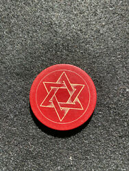 Red Antique Poker Chip 6 Point Star Rare Gambling Vintage Masonic Clay Saturn $3.99
