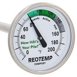 REOTEMP Backyard Compost Thermometer with PDF Composting Guide Fahrenheit 20 $24.68