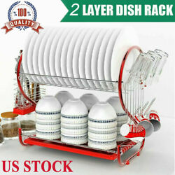 2 Tier Dish Drying Rack Stainless Steel Drainer Kitchen Storage Saver Stand Hot $25.99