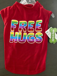 WAG A TUDE Red quot;FREE HUGS#x27;quot; T Shirt Puppy Dog small NWT $14.50