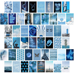 Blue Wall Collage Kit Aesthetic Pictures Bedroom Decor for Teen Girls Wall Col $17.34