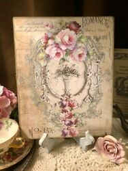 ROMANCE Shabby Chic Pink Roses Handcrafted Plaque Sign 8x10 $14.99