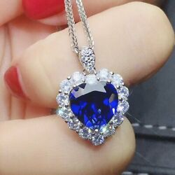 Fashion Heart Silver Necklace Pendant for Women Blue Sapphire Jewelry $2.95