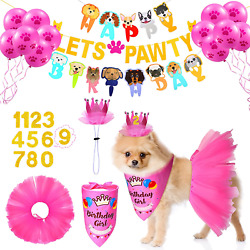 Dog Birthday Party Supplies Decoration Include Tutu Skirt Crown Hat 0 8 Figure P $21.04