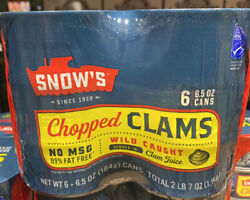 SNOW#x27;S Wild Caught Chopped Clams Served In Clam Juice 6.5 Oz. Can X 6 $32.99