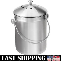 Stainless Steel Countertop Compost Bin with Lid 1.32 Gallon Compost Bucket $28.74