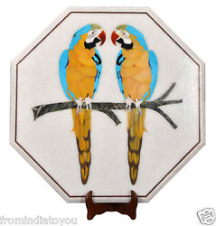 24quot; White Marble Coffee Table Pair Parrot Inlay Marquetry Garden Decor Art H2205 $715.44