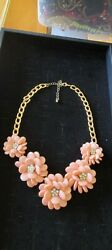 Beautiful Vntage Peach Lucite amp; Rhinestone Flower Necklace From Mom#x27;s Jewelry $10.00