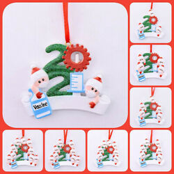 2021 Christmas Ornament Family Name Diy Personalized Vaccine Hanging Xmas Gifts $5.99