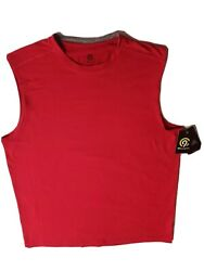 Champion Large Red Sleeveless T Shirt Crew Neck Duo Dry NEW with tags Poly blend $6.99