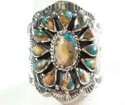 925 STERLING INTRICATELY ETCHED FLOWER SPINY OYSTER TURQUOISE SIZE 10 RING $33.99