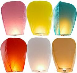 6 Pack Mixed Color Chinese Lanterns Biodegradable Paper Lanterns Fully Assembl $16.90