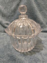 Vintage Crystal Clear Glass Lidded Candy Dish Fluted $14.39