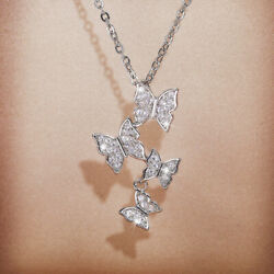 Women 925 Silver Butterfly Necklaces Pendants Adorable Cubic Zirconia Jewelry C $3.30