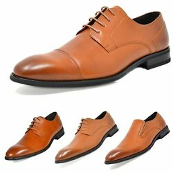 Mens Dress Shoes Oxford Shoes Wedding Shoes Business shoes Brown Size 6.5 15 $18.60