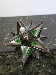 Vintage Moravian Star Green Stained Glass Lantern Lamp 7quot; Long Light $59.99