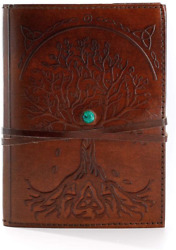 Leather Journal Refillable Lined Paper Tree of Life Handmade Leather Notebook amp; $23.80