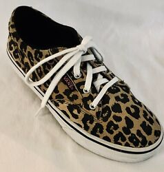 VANS Off The Wall Girls Size 2 Animal LEOPARD CHEETAH Low Canvas Lace Up Sneaker $15.99