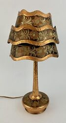Rare Artisan Handcrafted Hammered Copper Lamp Floral Etched Shade Table Light $99.00